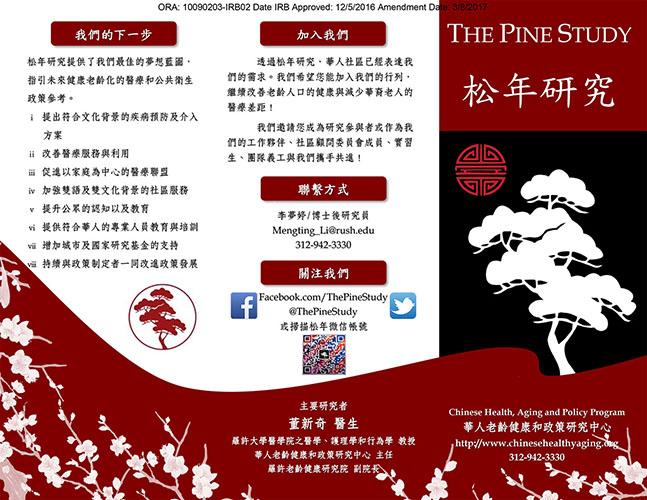 The PINE Study Brochure Front in Chinese